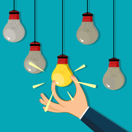 A businessman hand grabs a bright light bulb. Business idea vector