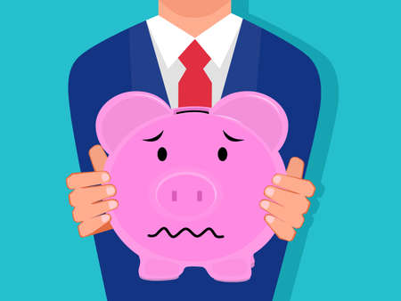 businessman holding a Sad piggy bank. Isolated on the background. Vector illustration