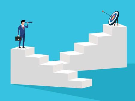 Business people look for new goals and opportunities. vector illustration