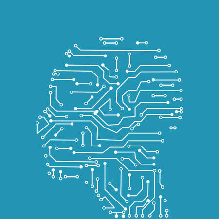 Circuit board technology in human heads. Vector illustration