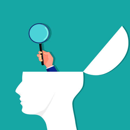 A person with a magnifying glass on his head. Surveyors and analyzers vector