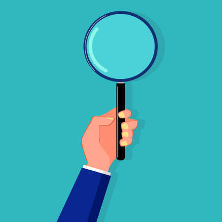 A person holding a magnifying glass. Surveyors and analyzers vector