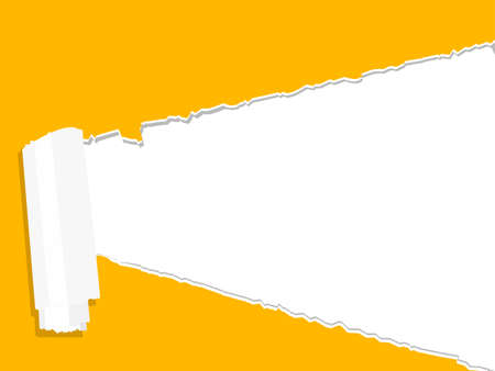 yellow ripped open paper with white background. place for your text vector Vektoros illusztráció