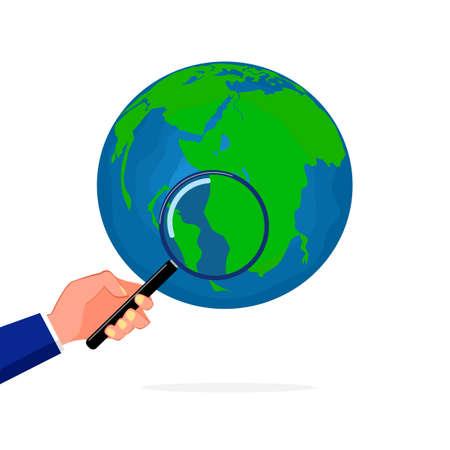 A person holding a magnifying glass looks at the world. Surveyors and analyzers vector Vektoros illusztráció