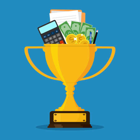 Trophies and financial documents. Concept of victory in finance and business