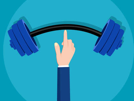Businessman lifting a barbell. symbol of success and power. business concept