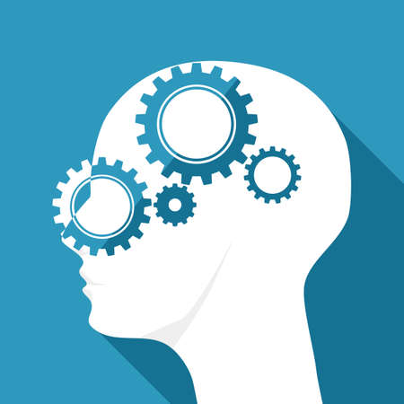 Human head and gear mechanism icon. Concept of systematic coordination of the brain