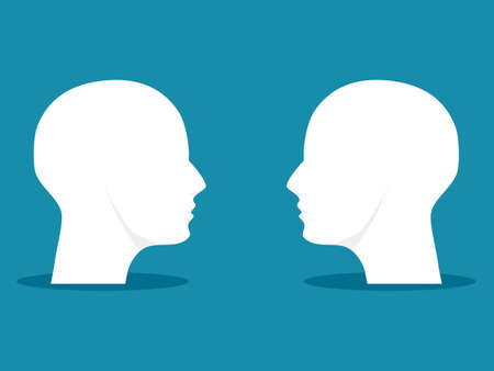 Two heads look at each other. people facing each other. illustration