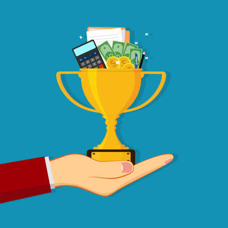 People holding trophies and financial documents. financial and business victory concept