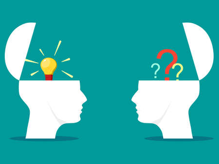Two heads. Knowledge or ideas shared between two heads of people. concept of knowledge transfer
