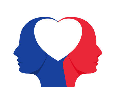 Two blue and red head shadows form a heart. Concept of love and peace. vector illustration