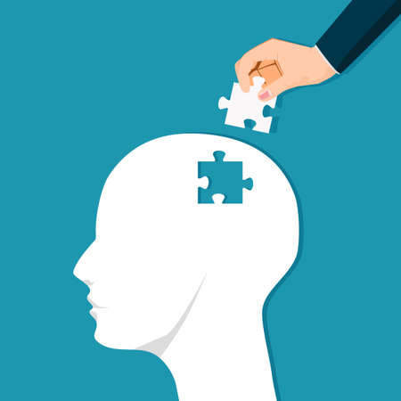 Put together a jigsaw puzzle with a human head. Puzzle strategy for people. vector illustration