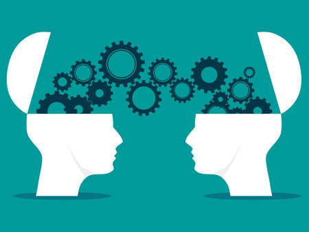 Two heads and gears. sharing ideas between two heads. brainstorming vector. business concept Illustration