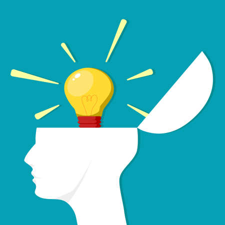 Light bulbs in the head. Thoughts in the brain. Creative ideas. vector illustration Illustration