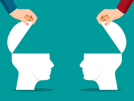 A businessman opens a human head door. Creativity. openness concept. vector illustration