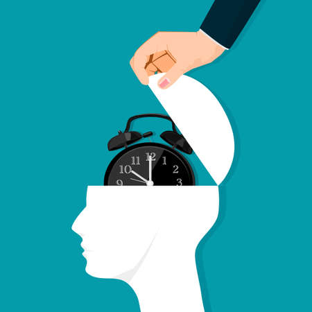 The human head is opened by a clock. The concept of timing of life Illustration