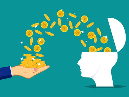 The human head is opened with a coin. The brain creates wealth. vector illustration