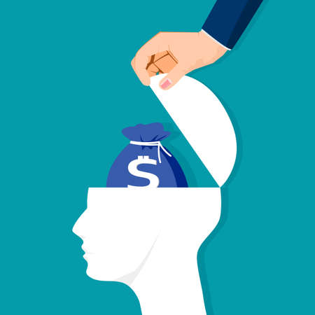 The human head is opened with financial goals. vector illustration. business concept