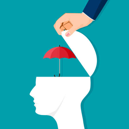 The human brain is opened with an umbrella of protection. vector illustration. business concept