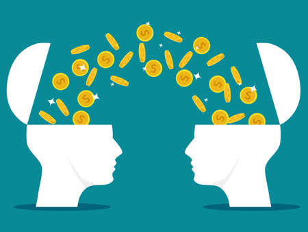 two human heads open with coins. Financial exchange concept. financial education. vector illstration