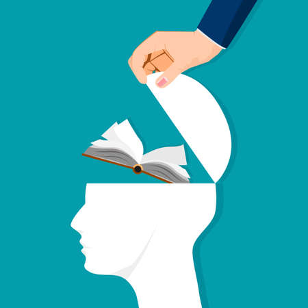 The human brain opens with a book. Learning concepts. vector illustration. business concept