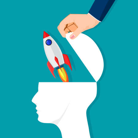 The human brain opens with a rocket. Initiative concept. vector illustration. business concept