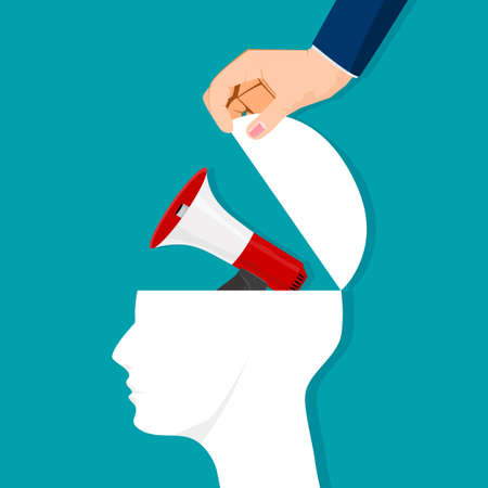 The human brain is opened with an advertising megaphone. vector illustration. business concept