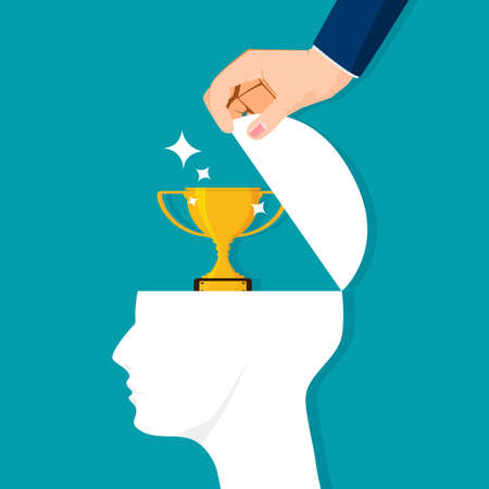 The human brain opens with trophies. Success concept. vector illustration. business concept