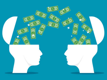 Both sides of the human head were opened along with the banknotes. Exchange knowledge in finance. vector illustration