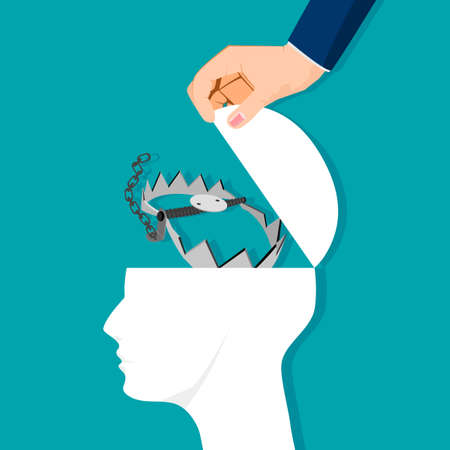 The head was opened with a trap. thought trap. vector illustration. business concept