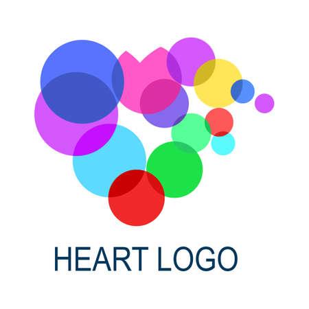 Colorful heart logo. Abstract medical health logo icon design. vector illustration