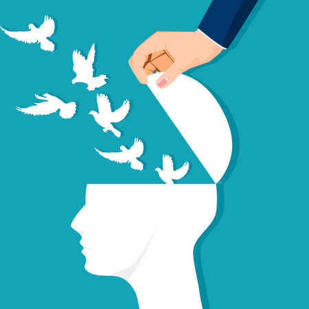 The human head opened and a flock of birds flew out. independent of thought. vector illustration