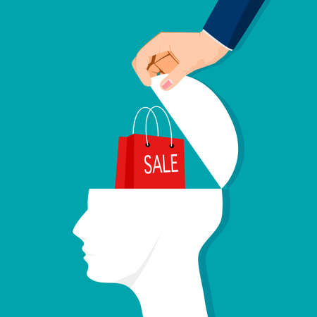 Open a human head and a bag of sales. sales ideas. vector illustration. business concept