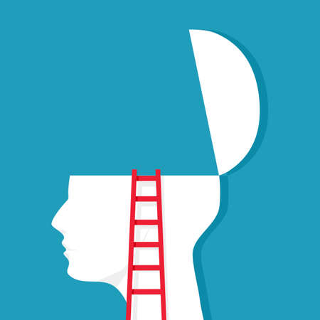 The stairs lead up to the human head. further development concept vector