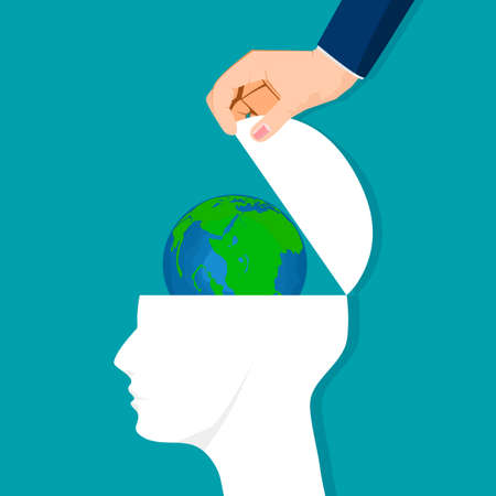 The head was opened with the world. Thoughts about the world. environmental conservation vector illustration