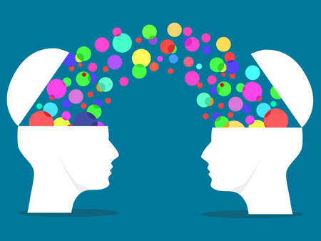 Two human beings are opened and multicolored thought bubbles. Exchange ideas vector