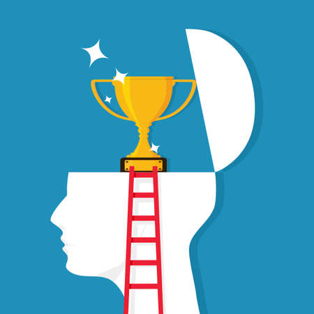 A ladder leads to a human head with a trophy. The development concept leads to success. vector illustration Illustration