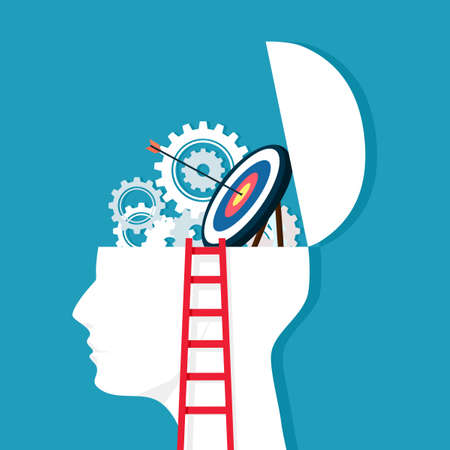 Ladder and gears on a human head with a target. thought processes that lead to goals. business concept