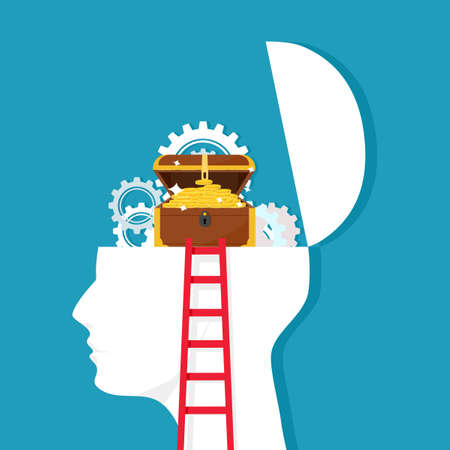 Ladder and gears on the human head with treasures. The thought process that leads to wealth. vector illustration Illustration
