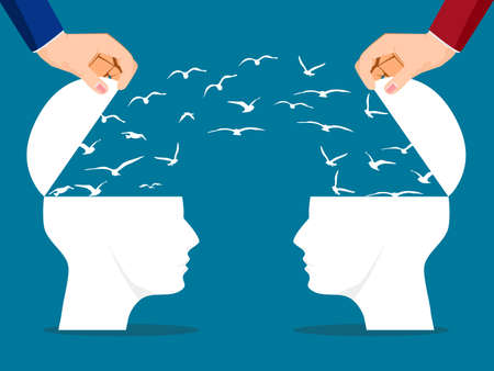 Two Headed man with flying birds is a metaphor. concept of communication and teamwork. vector