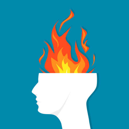 The man head was opened with a burning fire. The concept of powerful people. vector Illustration