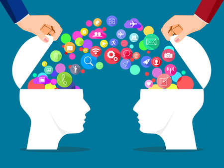 The head opens with a communication icon bubble. concept of information exchange communication. vector