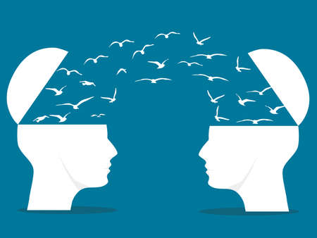 A bipartisan head with a flying bird is a metaphor for. Concept of communication and teamwork. vector