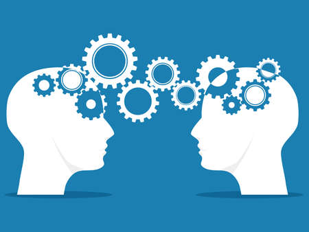 Knowledge or ideas sharing between two people. brainstorming concept. business concept