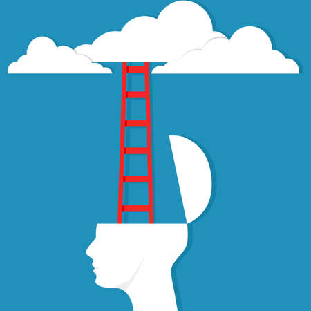 The human head opened and the stairs leading to the clouds. vector illustration. business concept Illustration