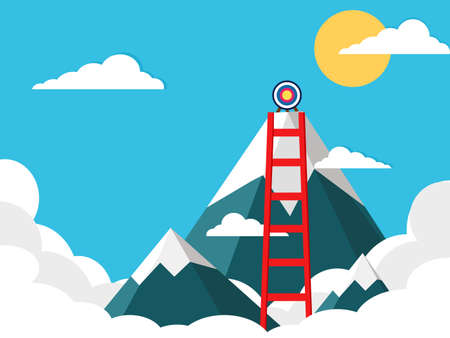 The stairs leading up to the goal at the top of the mountain peak. vector illustration. business concept
