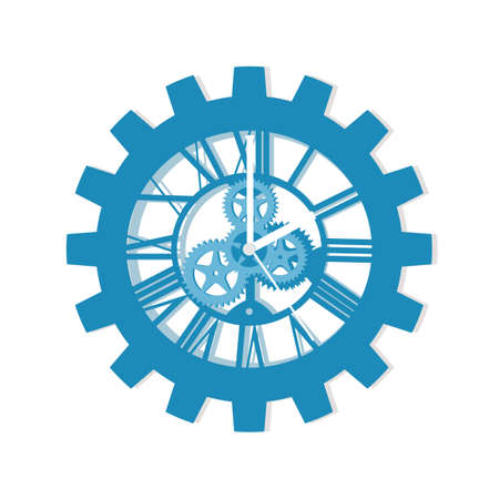 Antique clock and gear icon. Modern Roman Numeral Clock. vector illustration. object concept