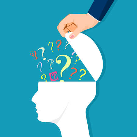 human head open with color question marks. Problem concept and finding a solution. business concept