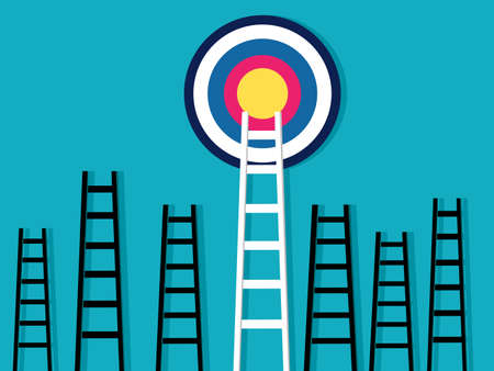 Stairs up to the goal. Stand out from the crowd and different creativity. business concept