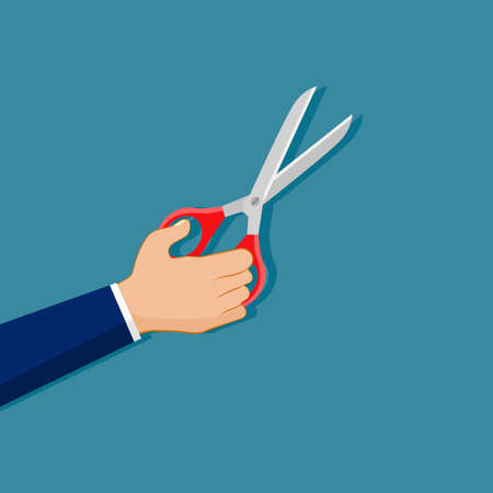 Businessman holding scissors. concept of cutting or removal. vector illustration. business concept